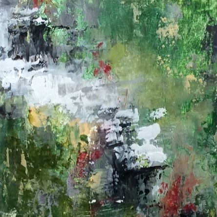 Nature Walk Series #2, oil and cold wax abstract painting, meadow painting