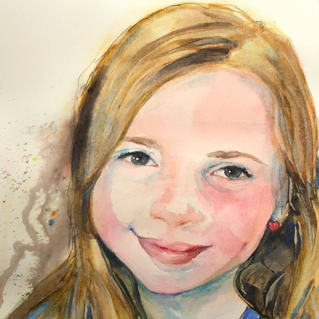 R Putbrese watercolor portrait of child by Rebecca Krutsinger