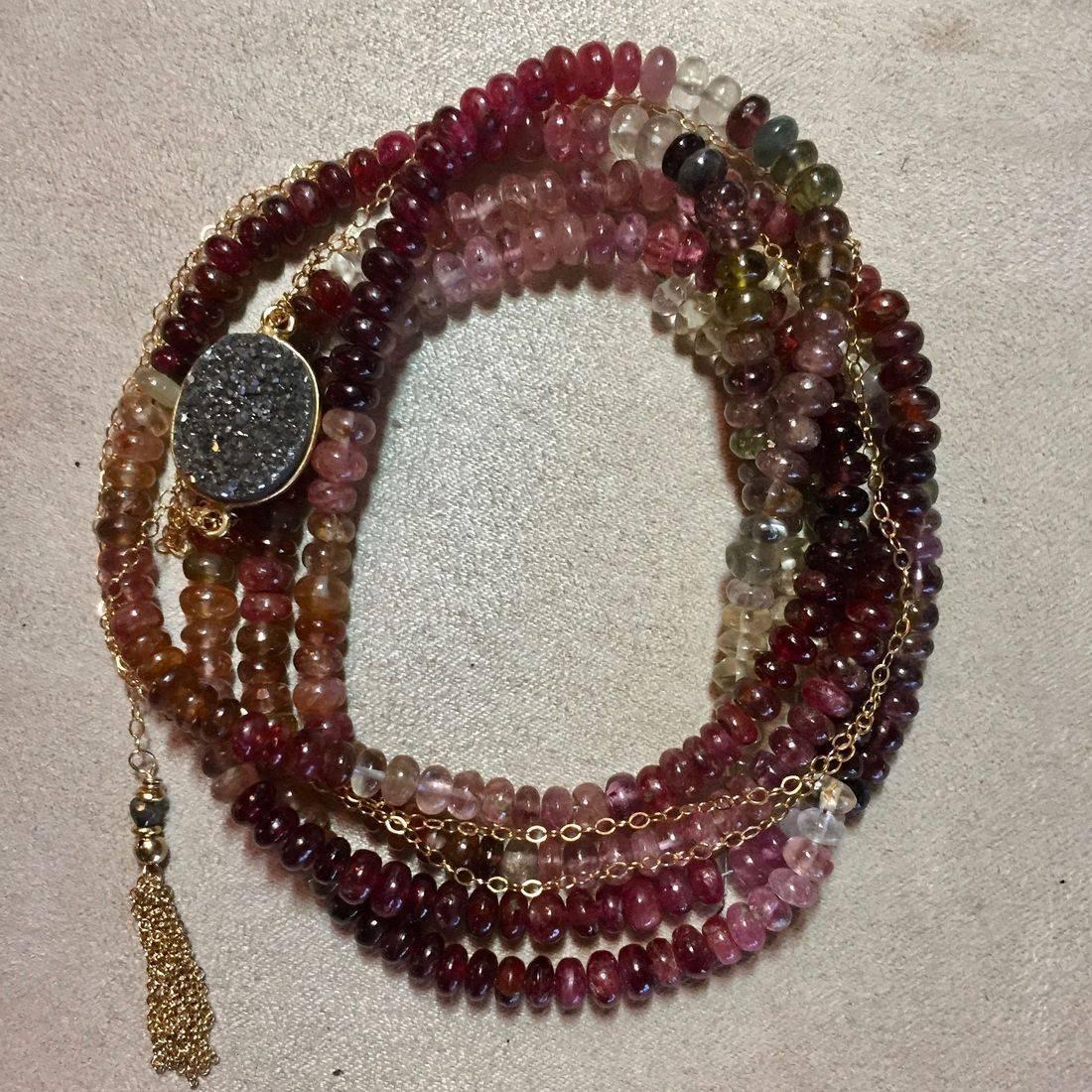 anne sportun gemstone wrap bracelets, spinel, gold fill tassel, clasp