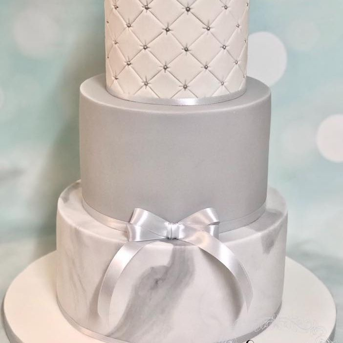 Wedding Cake silver grey white quilting simple ribbon anniversary