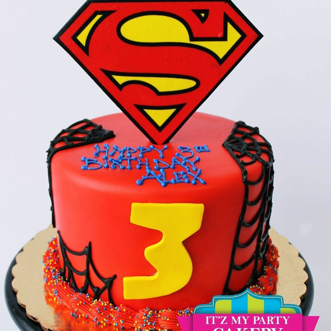 Custom Superman Spiderman Cake Milwaukee