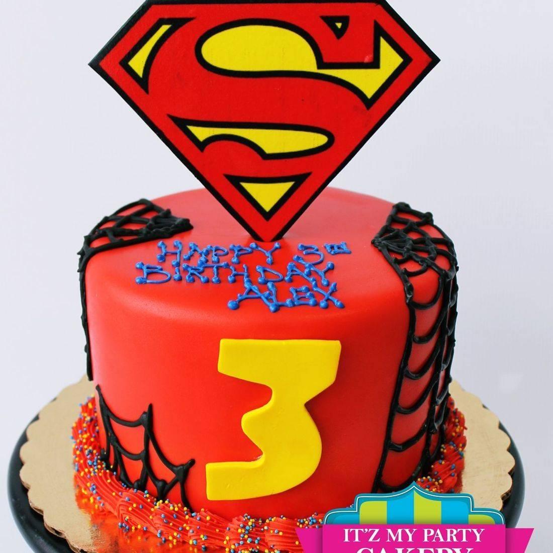 Custom Superman Spiderman Cake Milwaukee