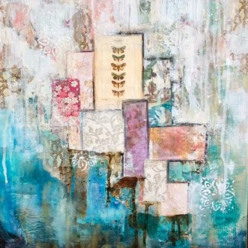 Mixed Media Collage by  Art And Soul By The Lake.  Barbara Polc Artist. Collage Art, torn paper art, abstract collage