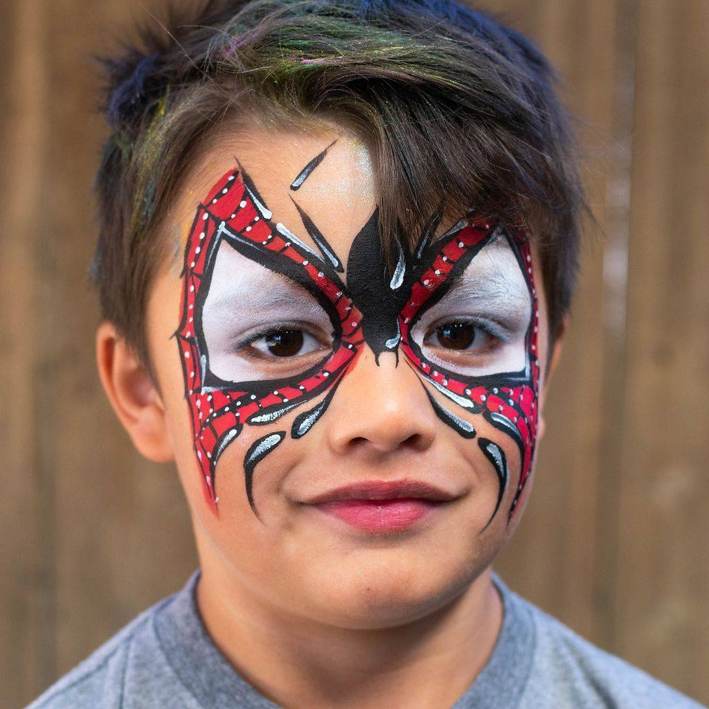 Superhero face painting for birthday party