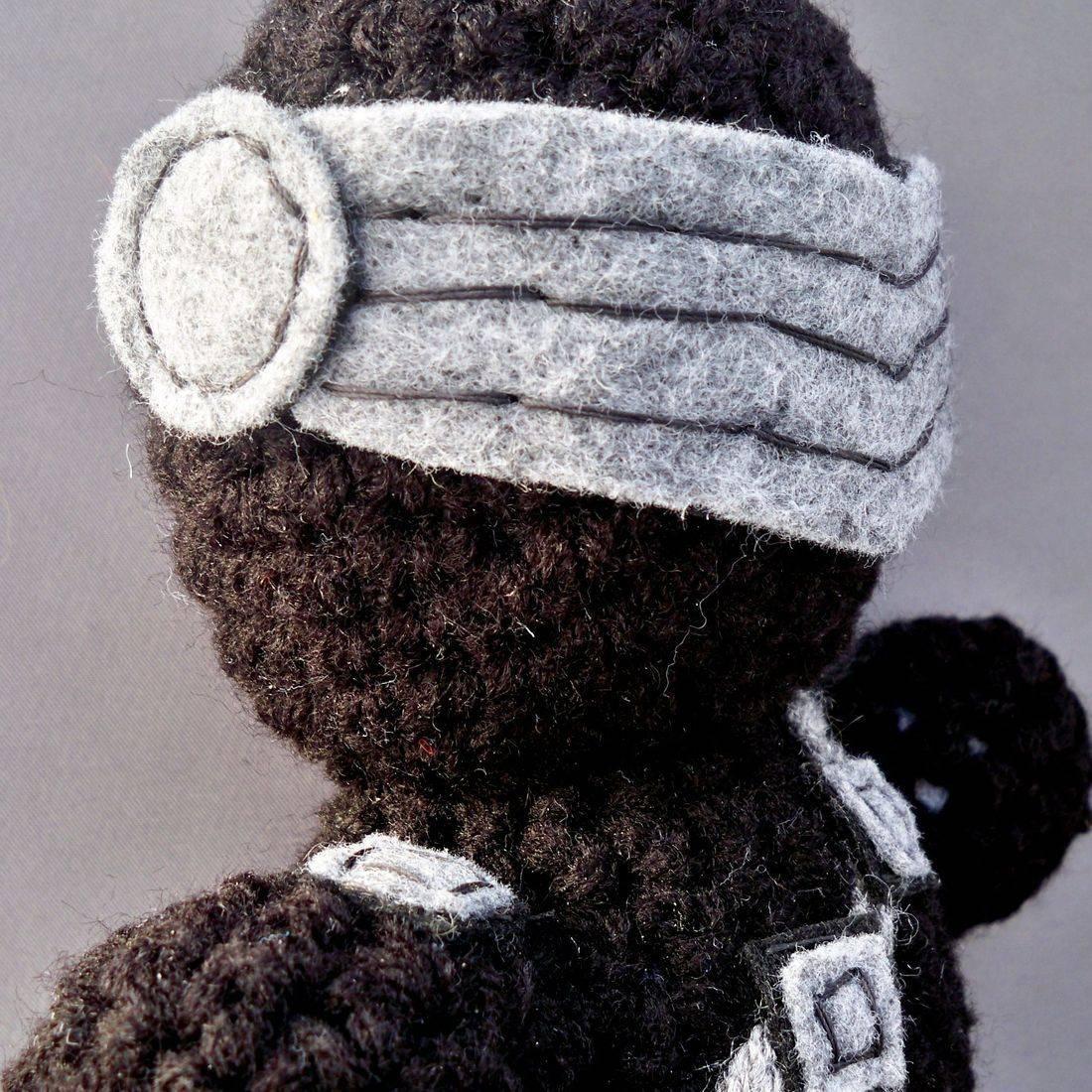 Snake Eyes, ninja, amigurumi, plush, doll, crochet, G.I. Joe, nerd, geek, handmade, crochet