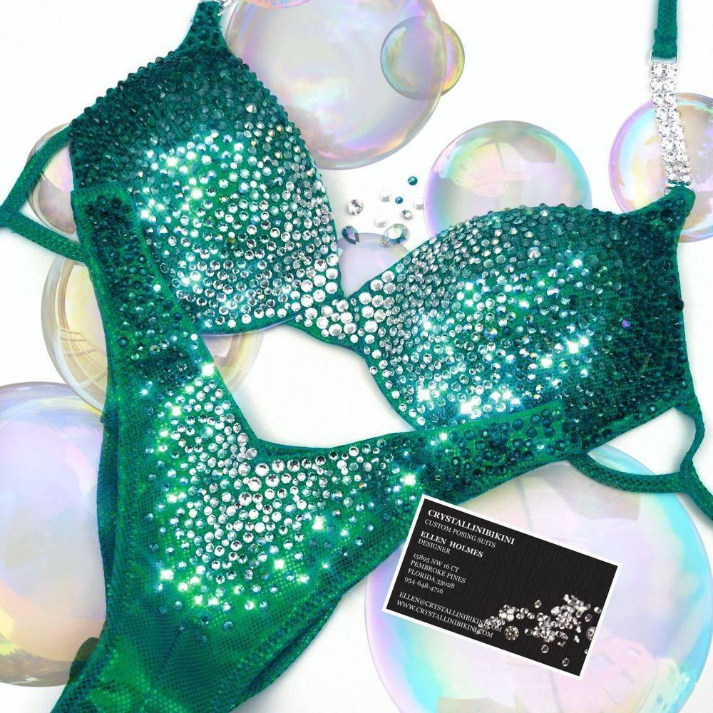 green wellness competition bikini