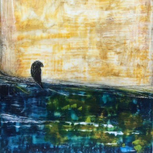 Encaustic Landscape, Raven, on birch panel