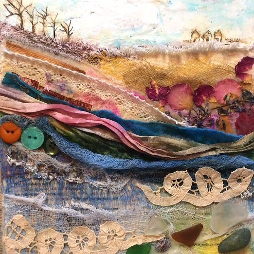 Mixed Media Encaustic Collage; At The Cottage; by Barbara Polc