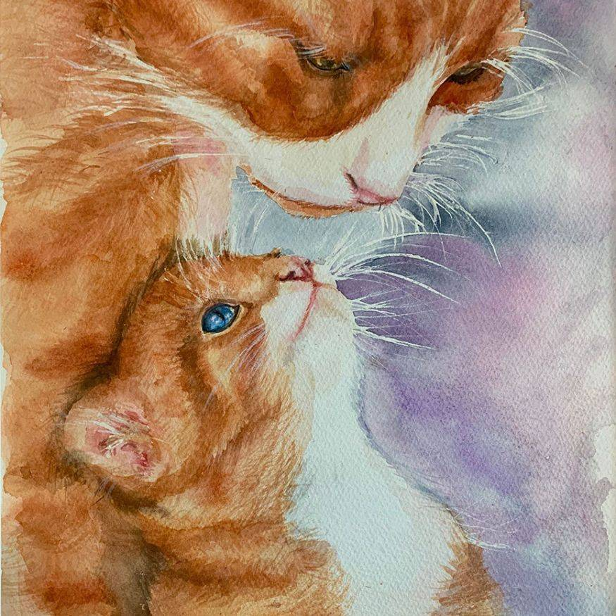 """SBaeckmann - I Love You Mama - Watercolor - 11""""x14"""" - Matted in Sleeve - $300"""