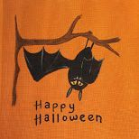 halloween, bat, orange canvas