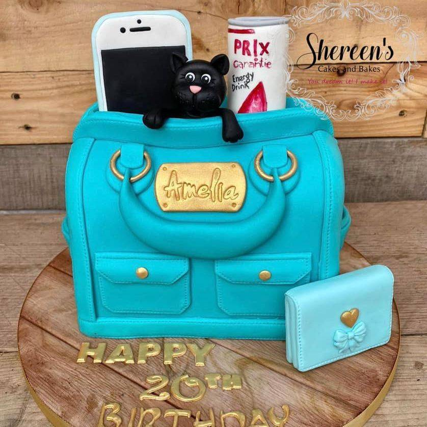 Handbag Bag Teal Birthday Cake Phone Purse Cat Energy Drink