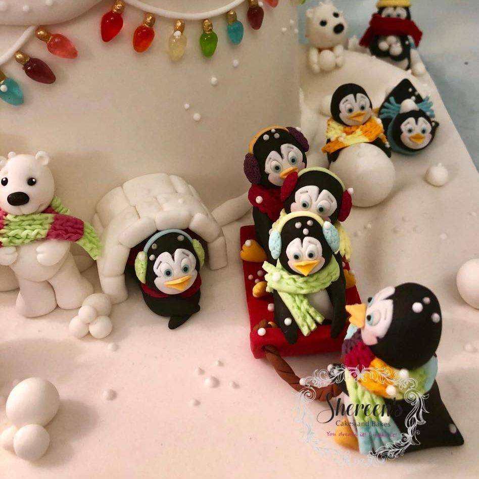Winter Wonderland Cake Penguins Polar Bears Isomalt Christmas Lights Snow Snowballs