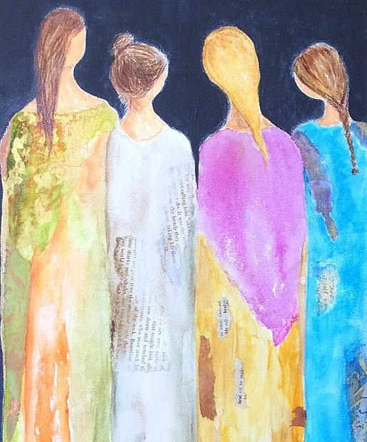Acrylic Mixed Media Collage Art Work,  Figurative painting, Figures painted in Acrylic, mixed media artwork, abstract figures, painting of souls, ethereal art, inspirational art, Collage art work, expecting mother artwork