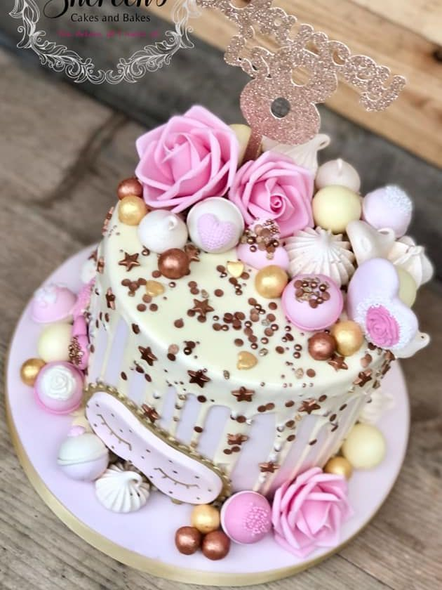 Spa relax pamper bath birthday drip cake pink gold roses bombs sleep mask flowers meringues