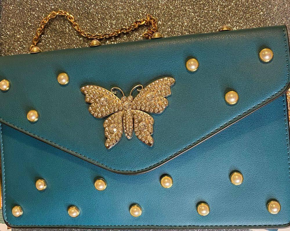 Turquoise clutch shoulder bag