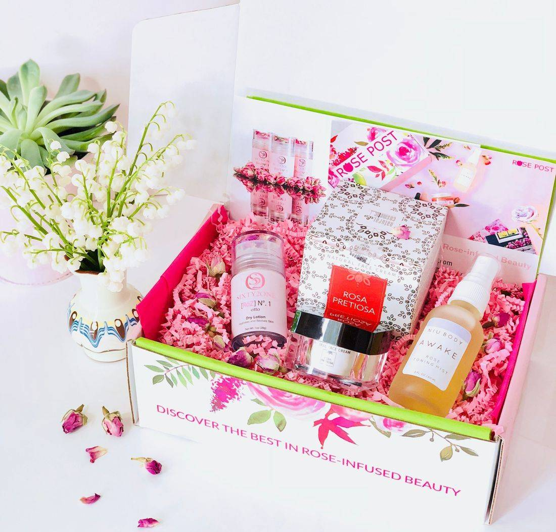 Rose Gift Box, RosePost Spring Box, RosePost Box, Green Beauty Subscription, Rose Beauty Box, Green Beauty Box, Rose Skincare, Clean Rose Beauty