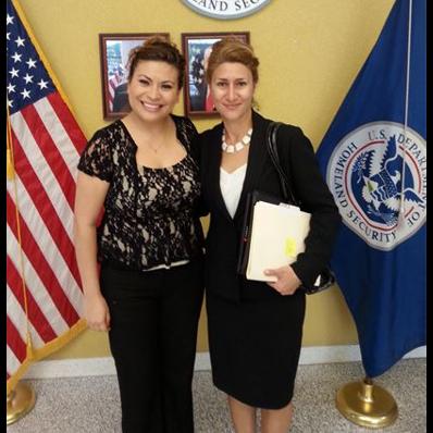 Emel Ersan with a client after winning her case