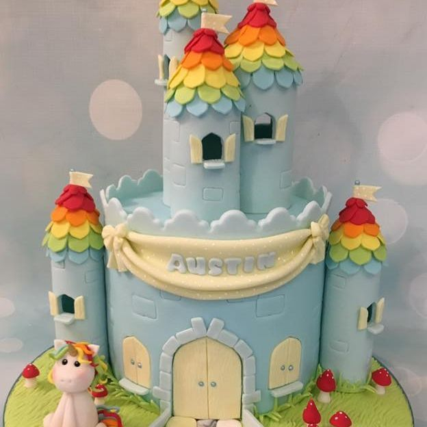 Rainbow unicorn Castle Cake Toadstools Grass Banner
