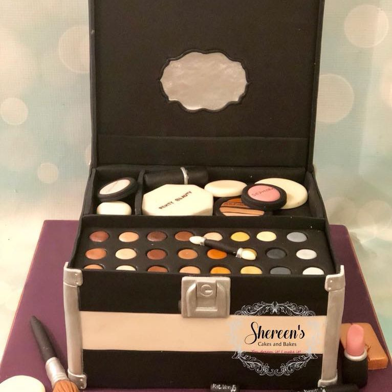 Make Up Costmetics Box Birthday Cake Sweet 16 Eyeshadow Eye Liner Brush Lipstick Sponges Sephora Blusher