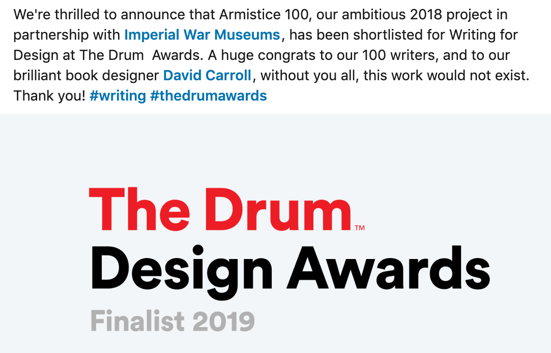 26 characters, Armistice 100, Drum Awards