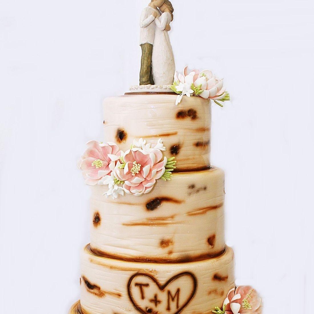 Custom  Rustic Birch Tree Wedding Cake  Milwaukee
