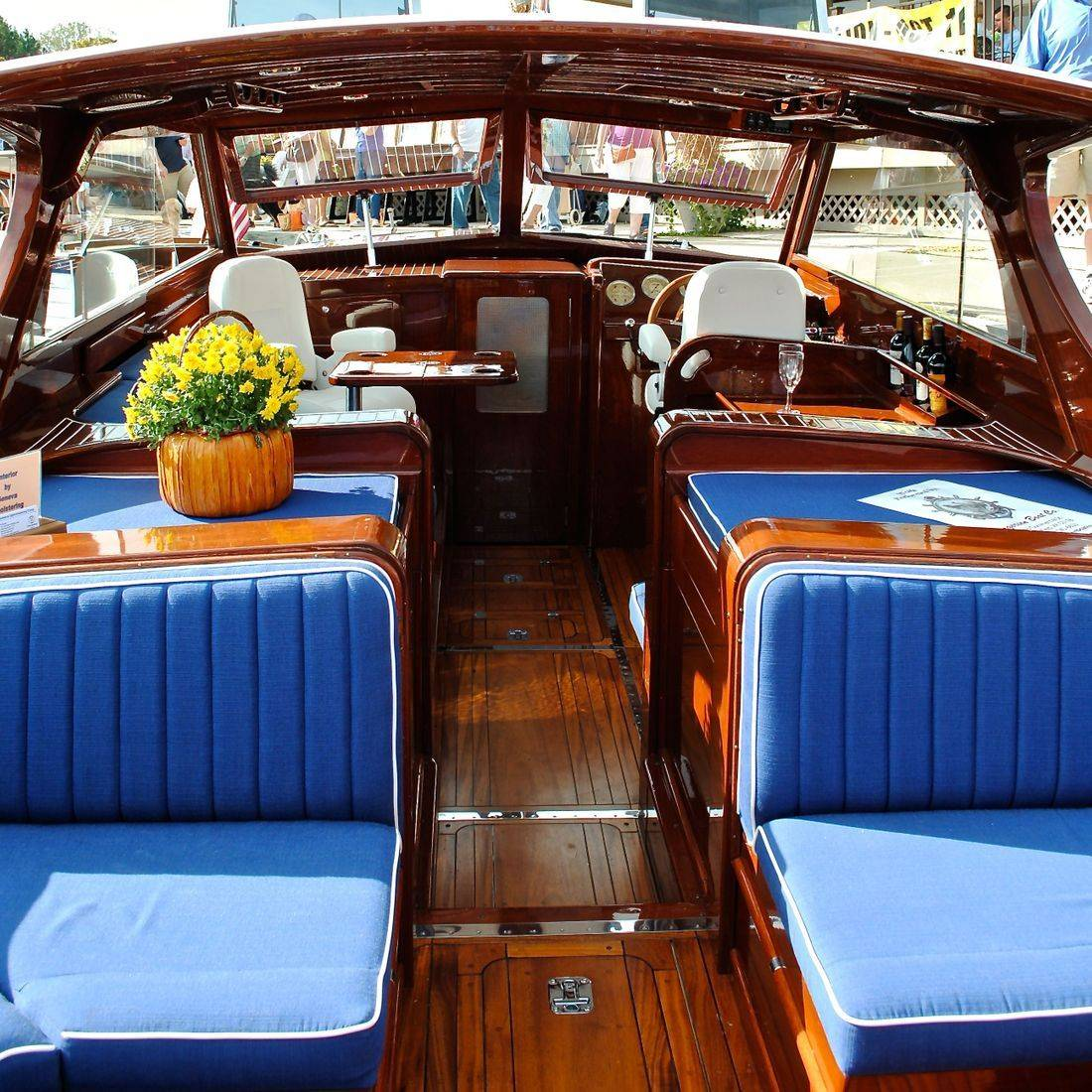 Custom designed interior by Bergersen Wood Boat Restoration