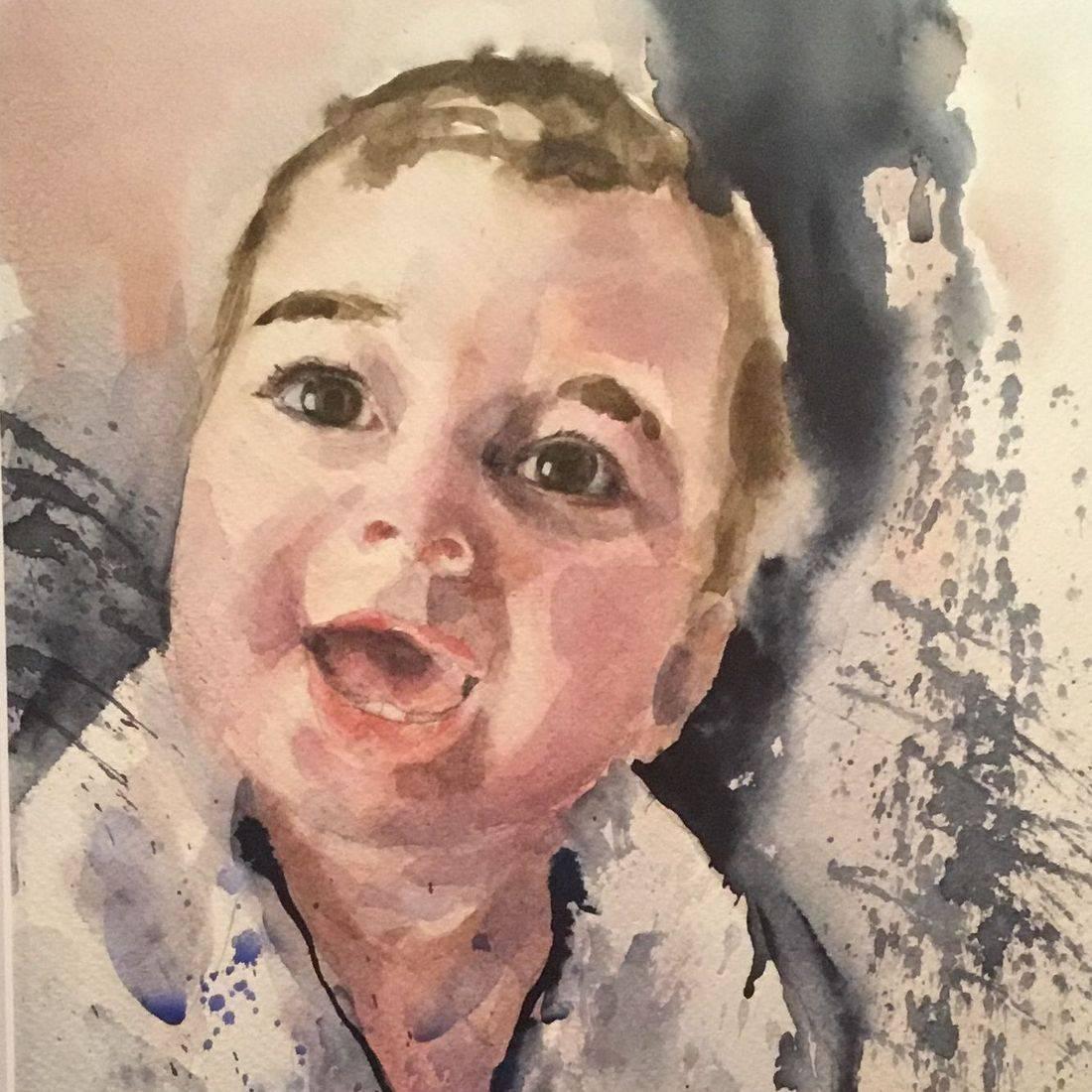R Putbrese watercolor portrait of priest by Rebecca Krutsinger
