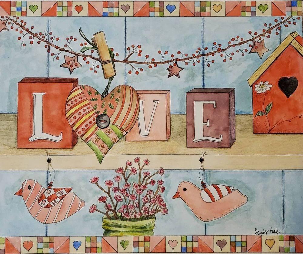 sandy bock, watercolor design, illsutration artist, design artist, valentine art, watercolor valentine