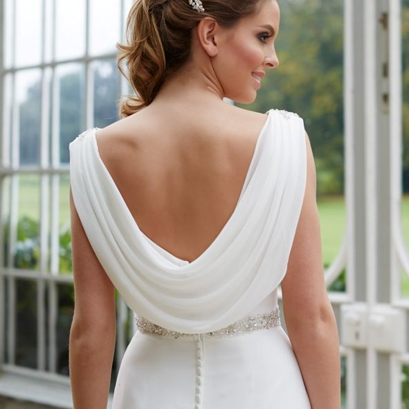 Low back wedding dress, ivory chiffon