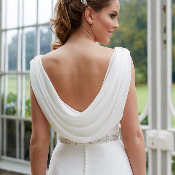 Low back wedding dress, ivory chiffon
