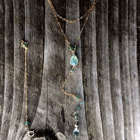 14k gold filled y necklace, with calcedony  and aqua marine