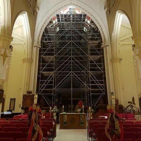 Scaffold erection at local church
