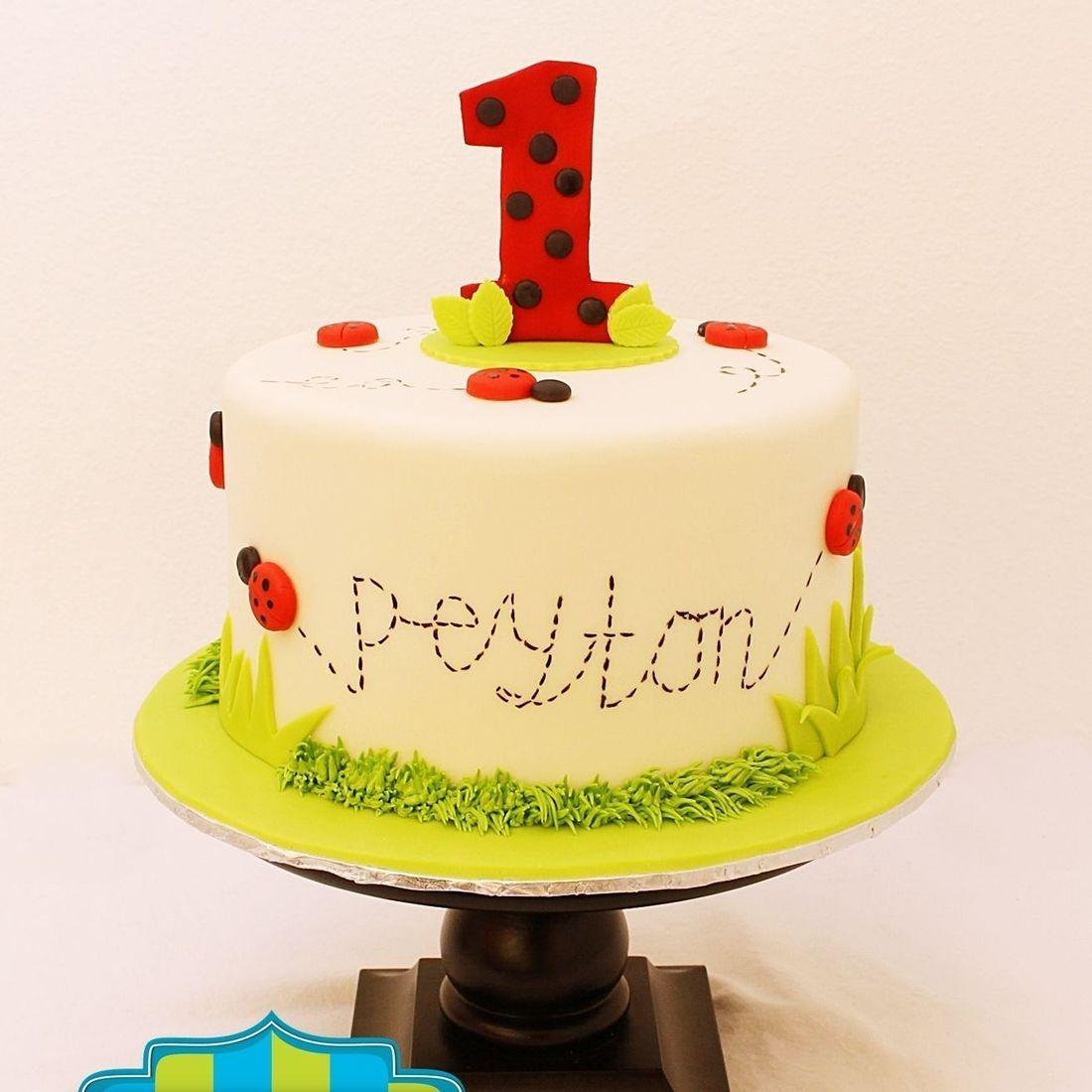 Custom Ladybug first birthday Cake Milwaukee