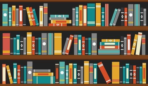 Drie boekenplanken symboliseren drie specialisaties: literair, juridisch en audiovisueel