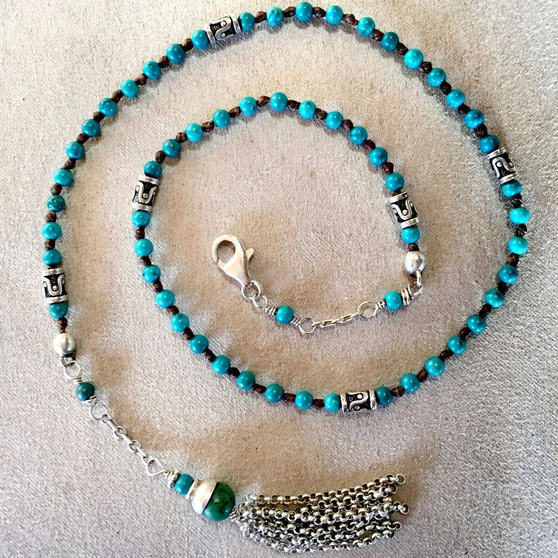 "18"" Turquoise wrap bracelet, Sterling Silver spacer beads, Sterling Silver  clasp, hand made tassel can be worn as a necklace"