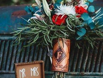 wedding wrap . Bridal Boquet Wraps , custom tooled , Monogrammed