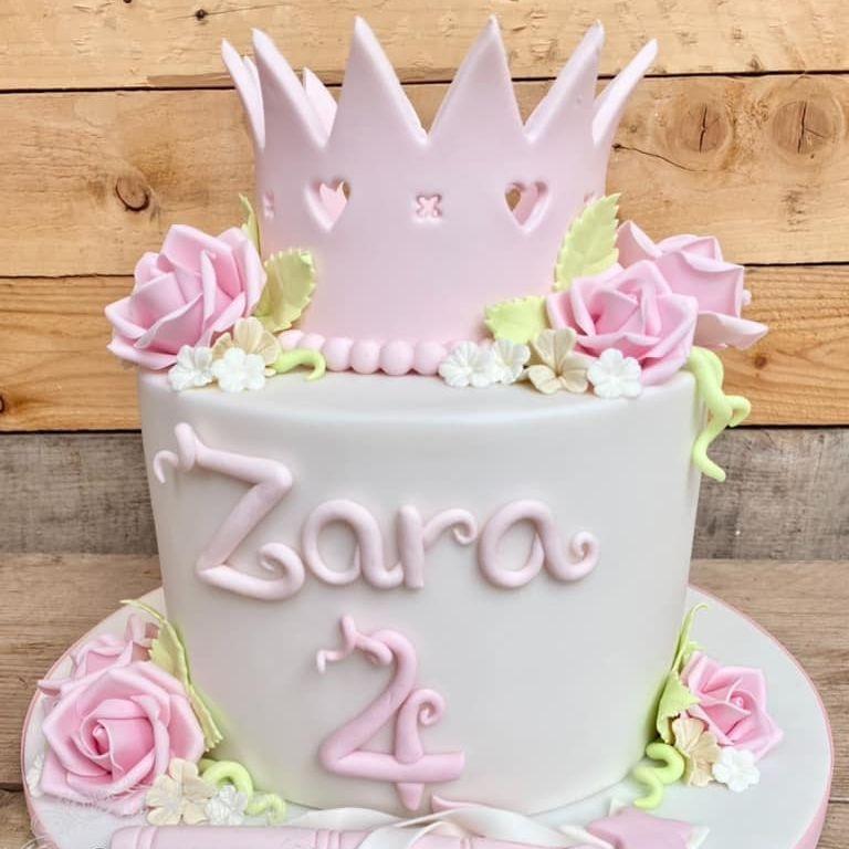 Girl Princess Cake Crown Flowers