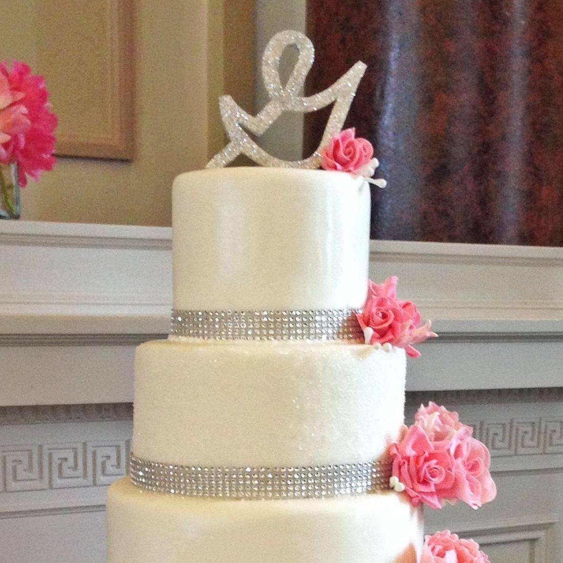 Custom Pink Floral Cascade Wedding Cake  Milwaukee