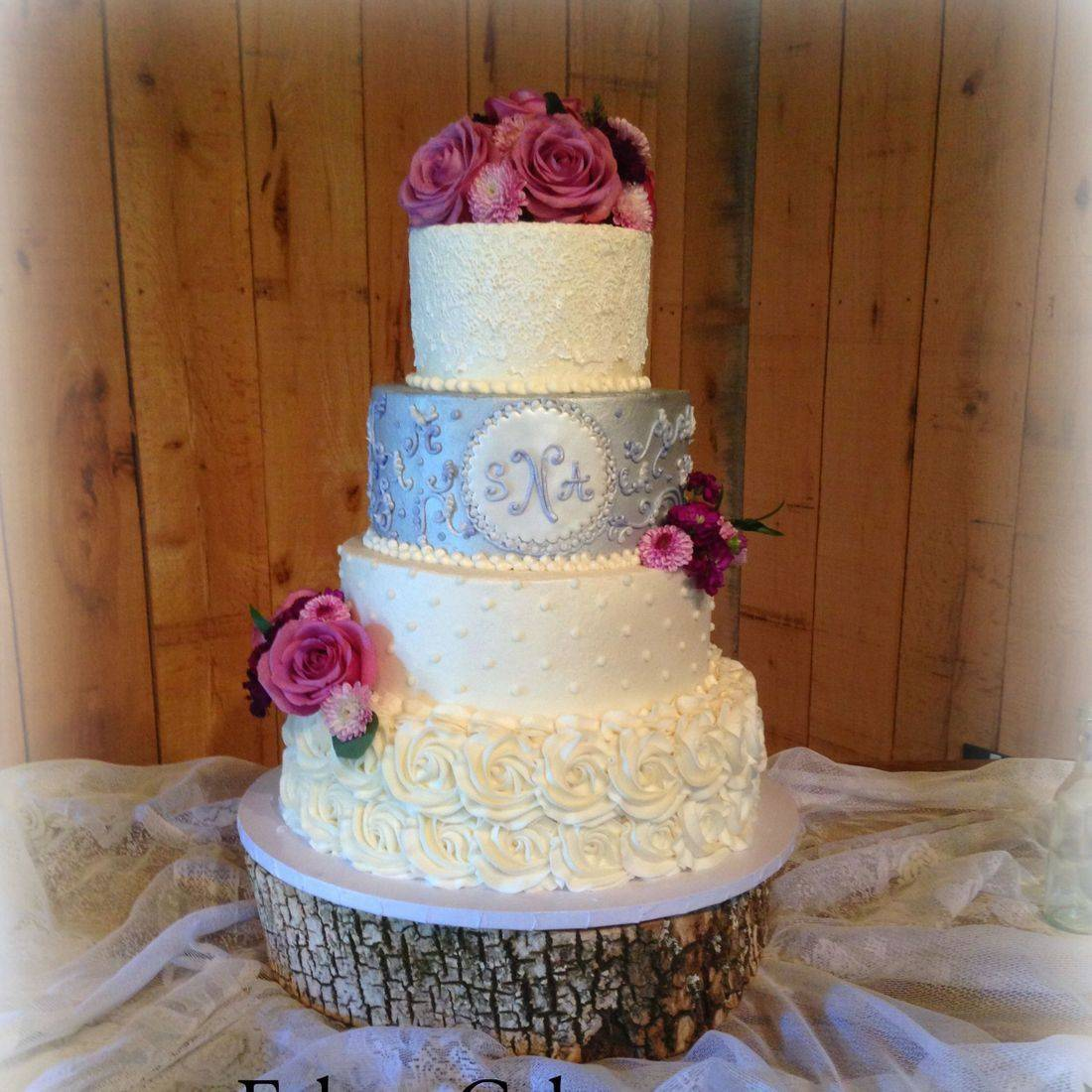 wedding cake lavender buttercream rosettes piping monogram