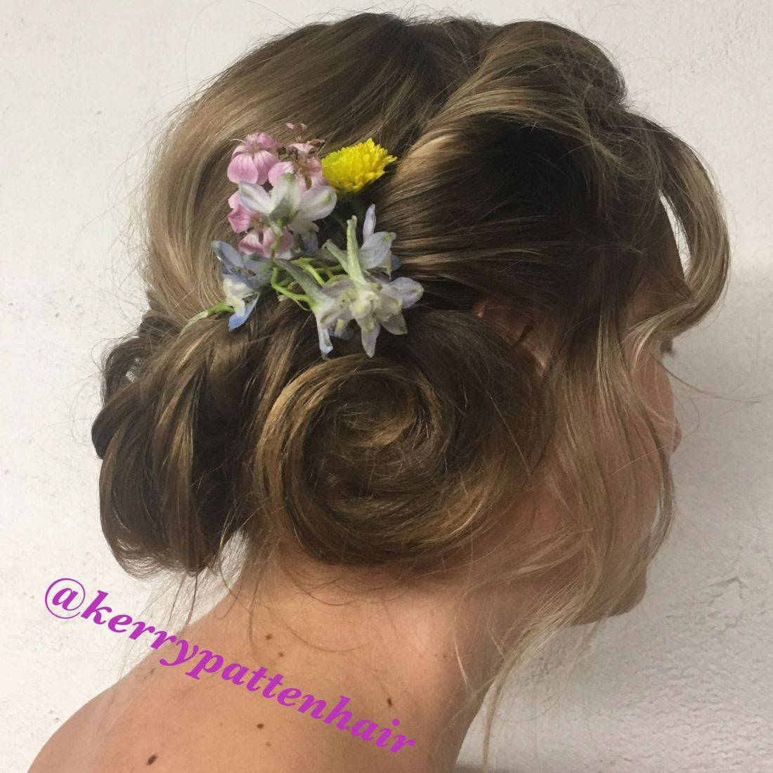 Twisted updo to the side