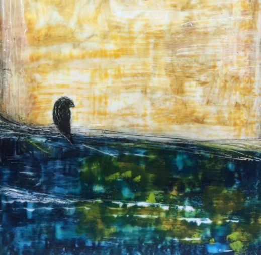 Black bird painting, encaustic painting, encaustic abstract landscape, bird on a wire painting, encaustic art, encaustic artist