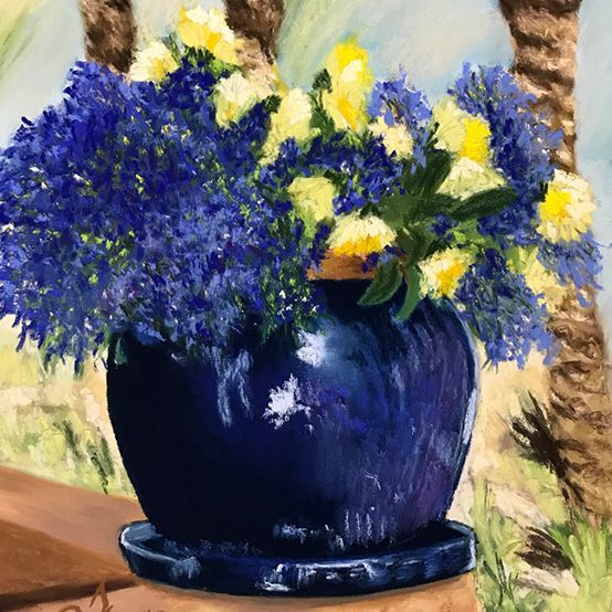 "JJohnson - The Blue Pot - Pastels - 13""x19""- $450-"