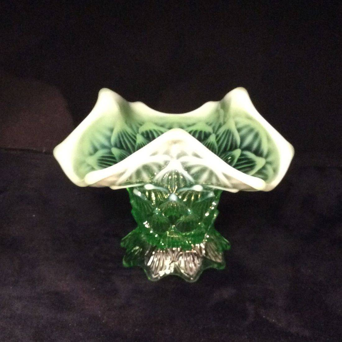 "Early 1900's Northwood Green Vasoline Opalescent Vase Palisades Pattern  4-5/8"" H x 6-1/4"" W.  $45.00"