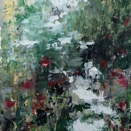 Oil and Cold Wax Medium Painting, Buddha, lotus flower, abstract buddha painting, oil buddha painting,  waterlily, inspirational art, yoga studio art, healing art