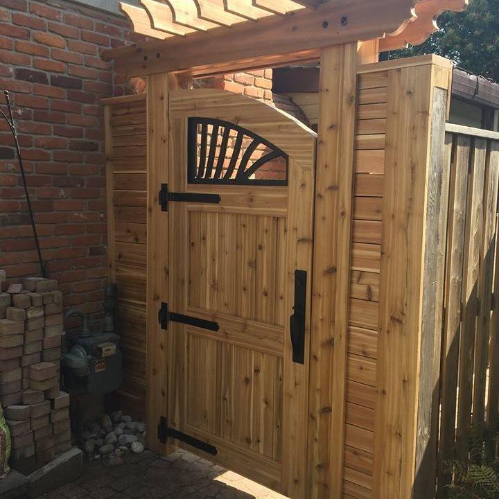 Custom outdoor privacy gate made of cedar