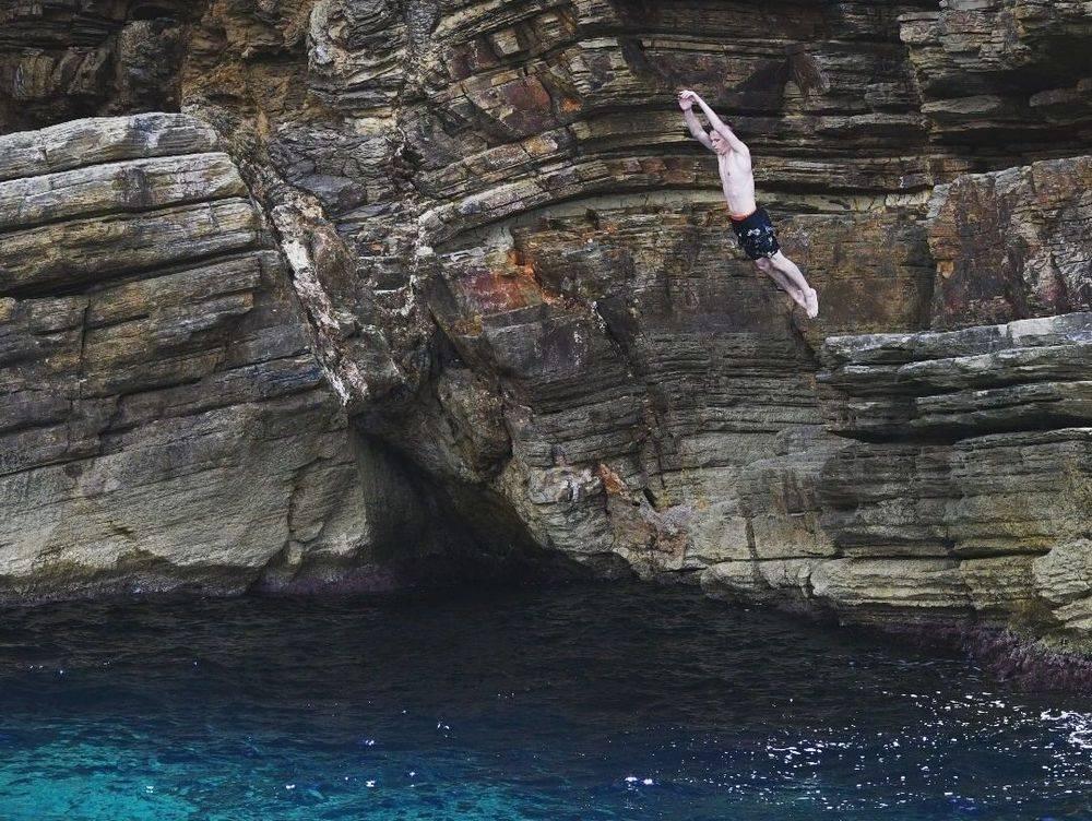 Cliff jumping Ibiza