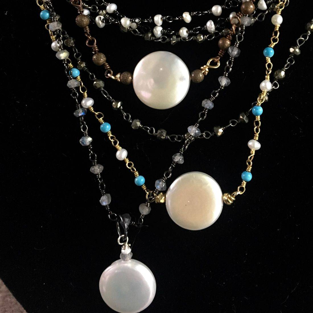 pearl. Rosary Chain, assorted necklaces