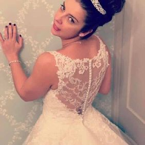 Lace beaded back wedding dress with tulle skirt