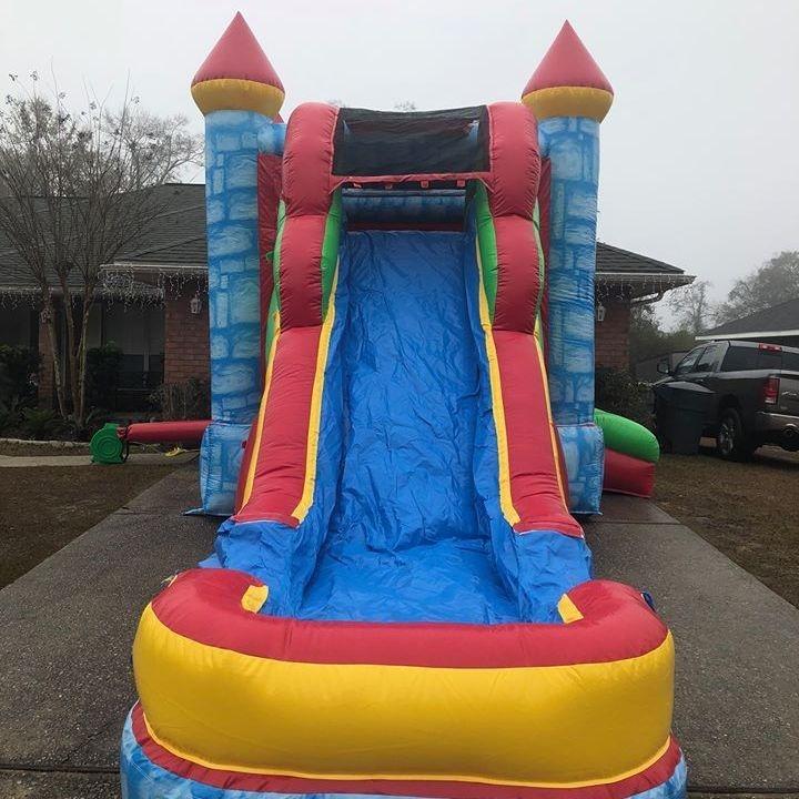 blue castle happy birthday bounce house waterslide combo