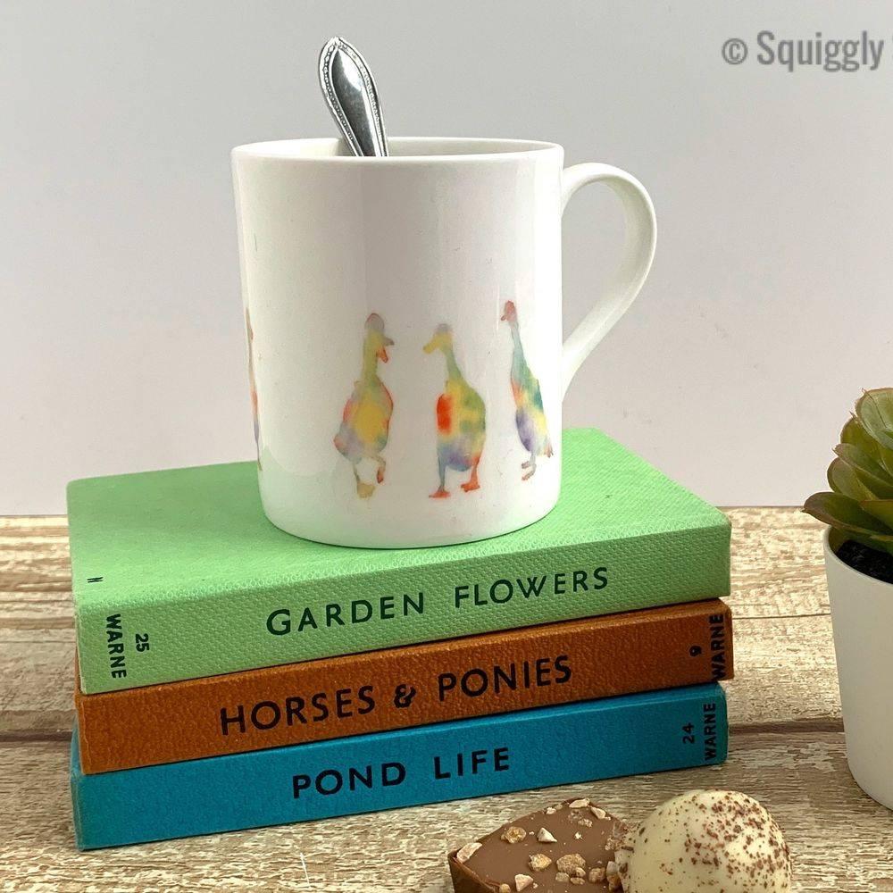 ducks bone china mug cup watercolour painting